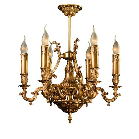 Vintage chandelier isolated on white photo