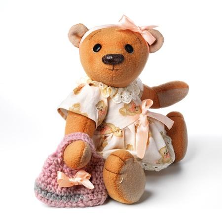 vintage teddy bears: Orsacchiotto in classico stile vintage isolato su sfondo bianco