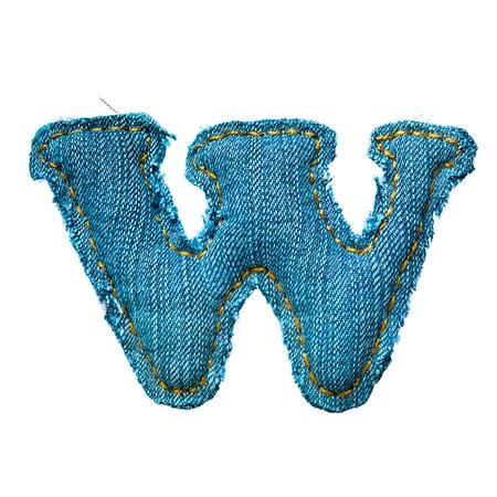 Handmade lowercase letter of jeans alphabet on white Stock Photo - 9822549