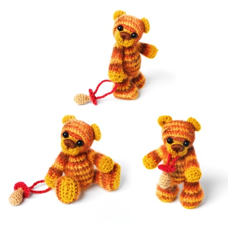 Teddy bears in classic vintage style isolated on white background