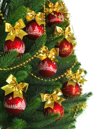 Decorated Christmas tree on white background Stock Photo - 11249030