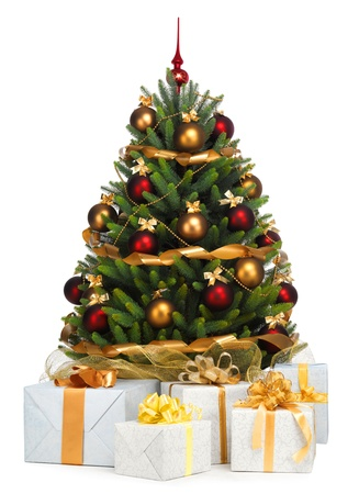 Decorated Christmas tree on white background Stock Photo - 11250632