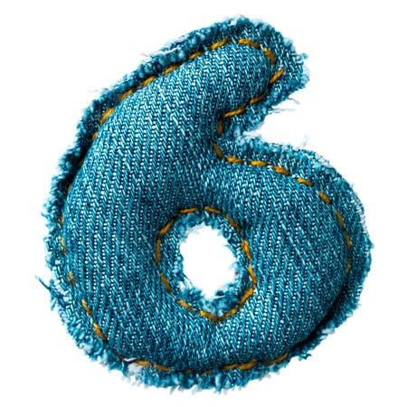 Handmade digit of jeans alphabet on white photo