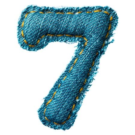 Handmade digit of jeans alphabet on white Stock Photo - 12046359