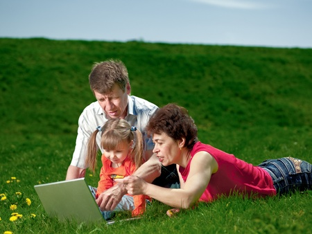 happy young family enjoy outdoors photo