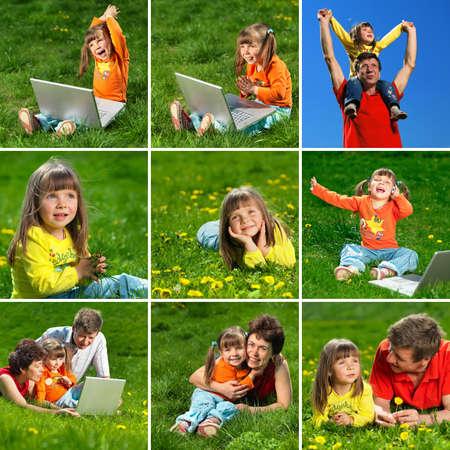 happy family enjoy outdoors photo