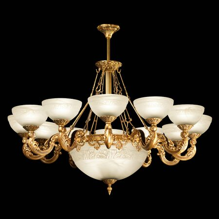 clipping  path: Vintage chandelier isolated on black background with clipping path Stock Photo