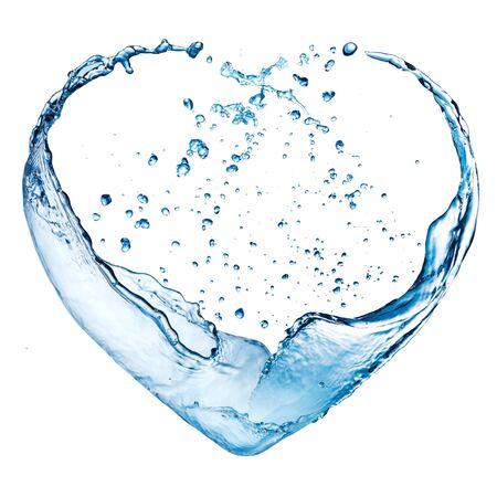 青い水のしぶきが白い背景で隔離のバレンタインの心を作った 写真素材