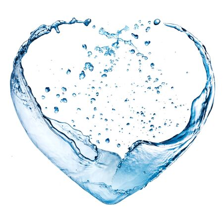 Valentine heart made of blue water splash isolated on white background photo