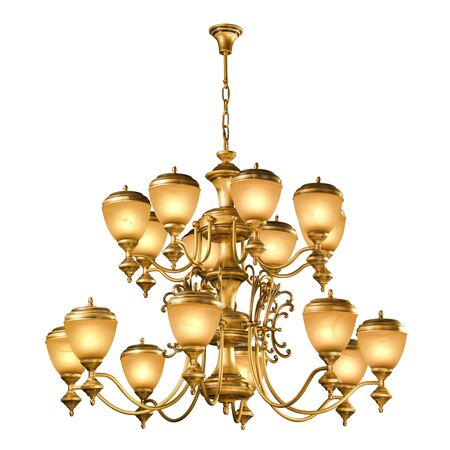 chandelier: Vintage chandelier isolated on white background with clipping path