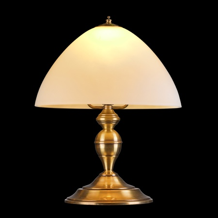 vintage table lamp isolated on black with clipping path photo