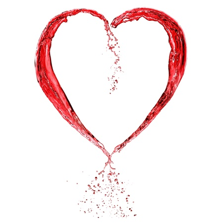 clean heart: Valentine heart made of blue water splash isolated on white background Stock Photo