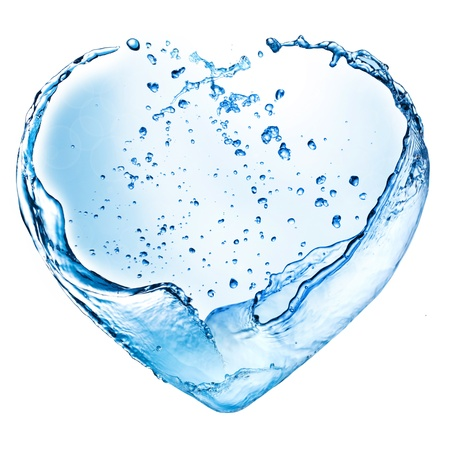 Valentine heart made of blue water splash isolated on white background Stock Photo