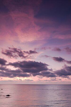 sun rising: Sea sunrise with beautiful clouds Stock Photo