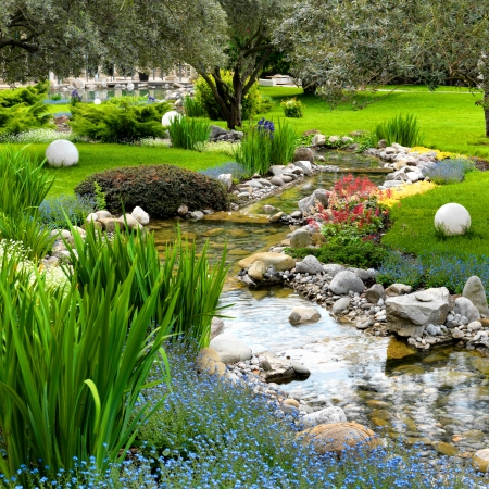 asian gardening: garden with pond in asian style