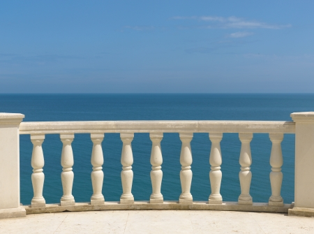 view at sea and sky with balustrade Stock Photo