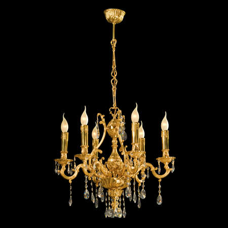 Vintage chandelier isolated on black background photo