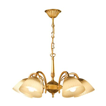 brass lamps: Vintage chandelier isolated on white background