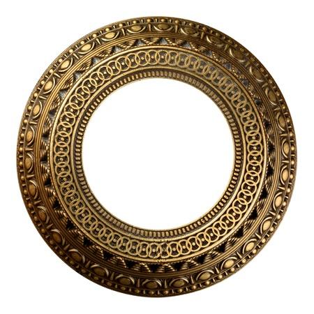 Vintage gold ornate frame on white