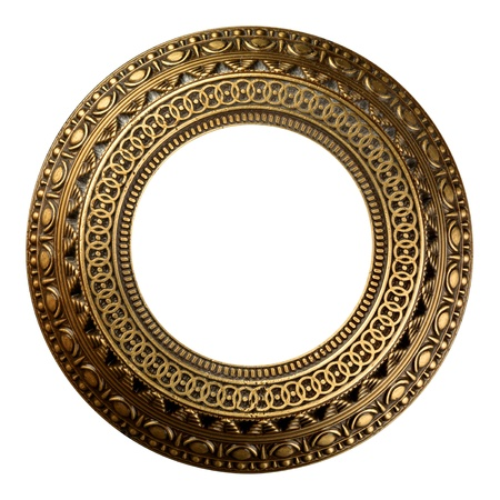 Vintage gold ornate frame on white