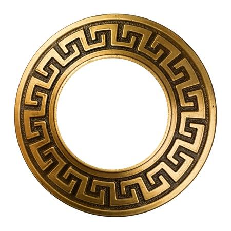 elipse: Vintage marco de oro adornado en blanco Foto de archivo