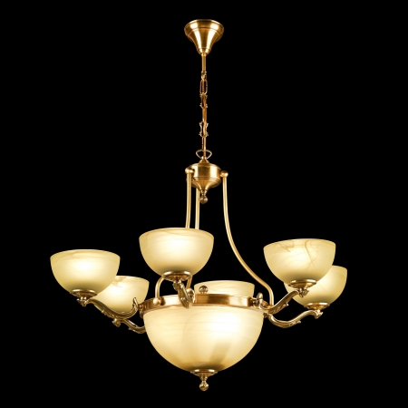 chandelier isolated: Vintage chandelier isolated on black background