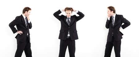 satisfied customer: Businessmen thinking Stock Photo
