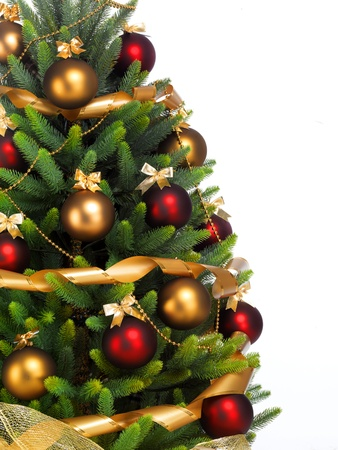 Decorated Christmas tree on white background photo