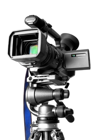 Camcorder on a professional tripod photo