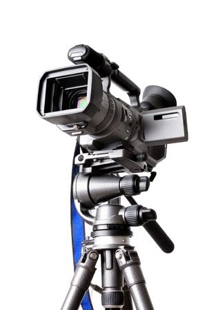 film editing: Camcorder on a professional tripod