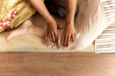 thai massage of young girl photo
