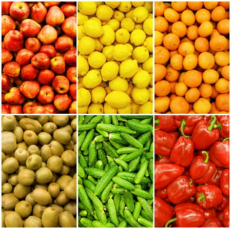 collection of fruit and vegetable backgrounds Stock Photo