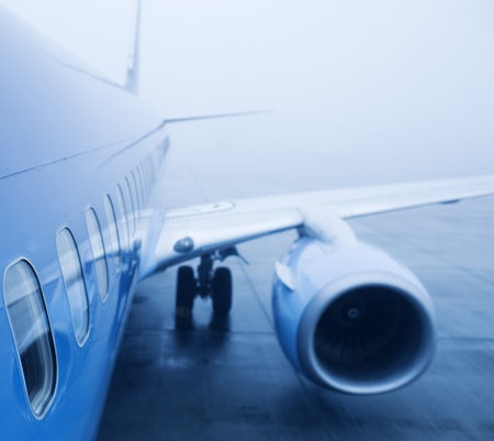 boeing: airplaine exterior close up, fog Stock Photo