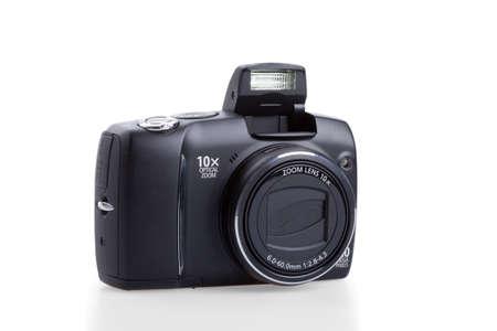 camera flash: photo camera isolated on white Stock Photo