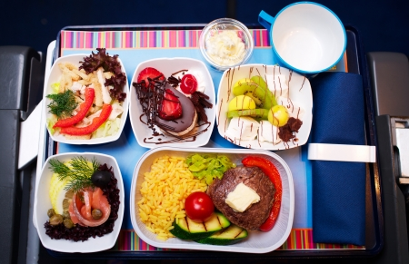 lunch tray: Tray of food on the plane