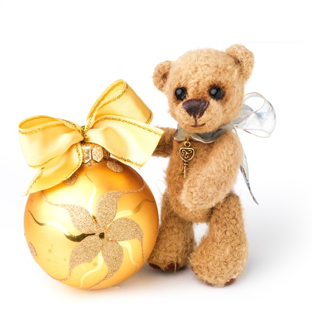 teddybear: Teddy bear in classic vintage style with christmas toy