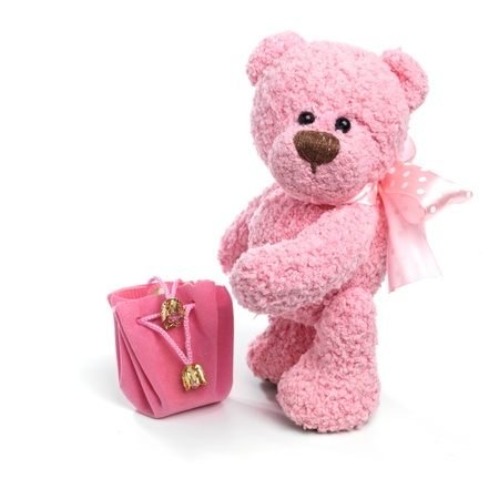 doll: Teddy bear in classic vintage style isolated on white background