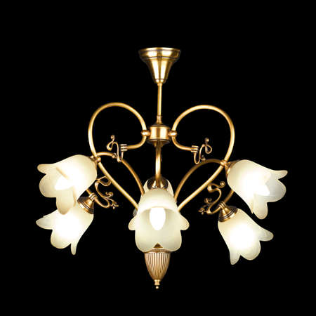chandelier isolated: Vintage chandelier isolated on black background Stock Photo