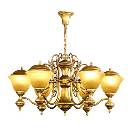 Vintage chandelier isolated on white background with clipping path photo
