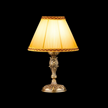 table lamp: vintage table lamp isolated on black with clipping path