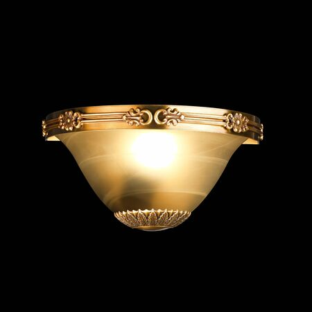 vintage wall lamp isolated on black with clipping path photo