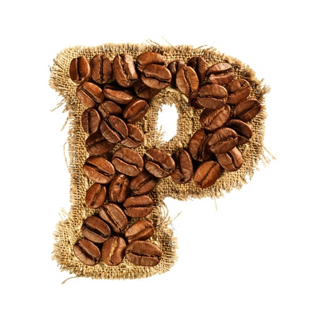 Alphabet from coffee beans on fabric texture isolated on white background Stock Photo - 17468169