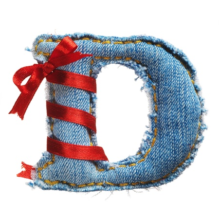 Handmade letter of jeans alphabet with holiday red ribbon isolated on white Stock Photo - 17604303