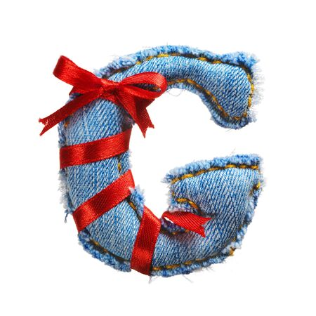 Handmade letter of jeans alphabet with holiday red ribbon isolated on white Stock Photo - 17604276