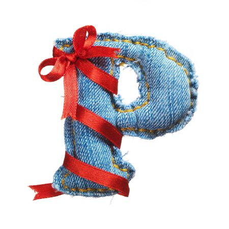 Handmade letter of jeans alphabet with holiday red ribbon isolated on white Stock Photo - 17604278