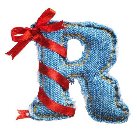 Handmade letter of jeans alphabet with holiday red ribbon isolated on white photo