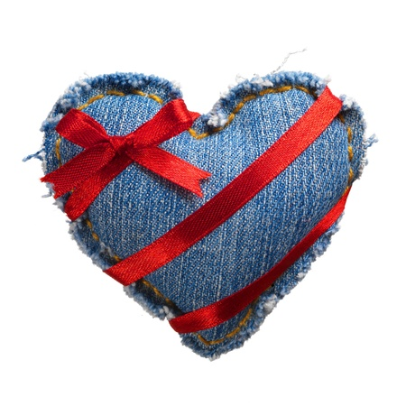 Valentine jeans heart with red holiday ribbon white. Stock Photo - 17604304
