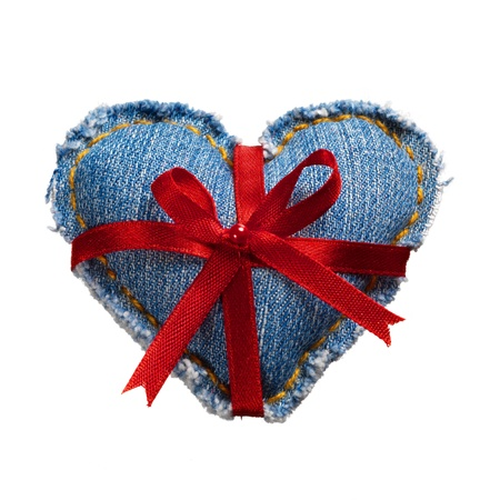 Valentine jeans heart with red holiday ribbon white. Stock Photo - 17604291