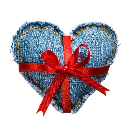 Valentine jeans heart with red holiday ribbon white. photo