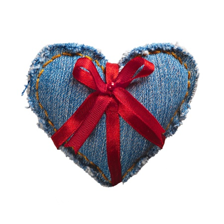 Valentine jeans heart with red holiday ribbon white. Stock Photo - 17604295